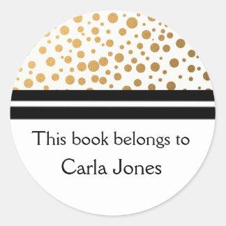 Personalized Bookplates | Gold Glitter Dots Round Sticker