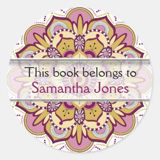 Personalized  Bookplates | Pink Mandala Pattern Round Sticker