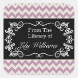 Personalized Bookplates - Purple Chevron Pattern Square Sticker