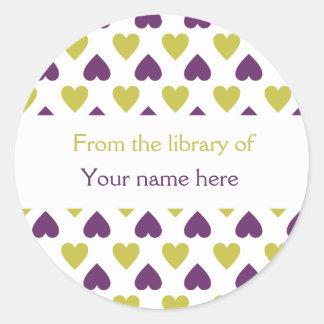 Personalized Bookplates Purple Green Hearts Round Sticker