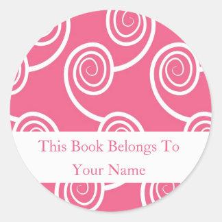 Personalized Bookplates -White Swirl On Pink Classic Round Sticker