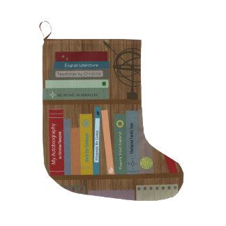 Personalized Bookshelf Large Christmas Stocking