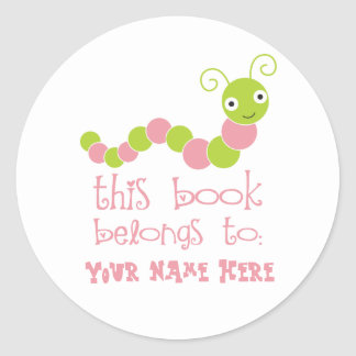 Personalized Bookworm Bookplate Stickers
