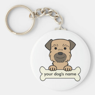 Personalized Border Terrier Basic Round Button Keychain