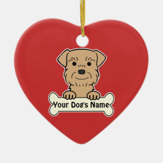 Personalized Border Terrier Ceramic Heart Ornament