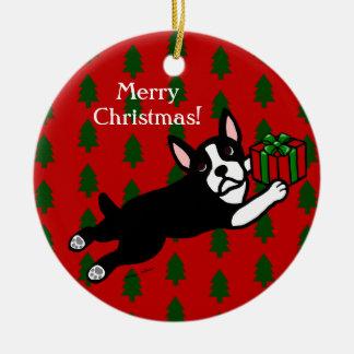Personalized Boston Terrier Christmas Ceramic Ornament