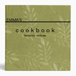 Personalized Botanical Art Recipe Cookbook 3 Ring Binders