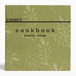 Personalized Botanical Art Recipe Cookbook Vinyl Binders