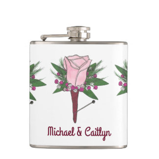 Personalized Boutonniere Pink Rose Wedding Flask