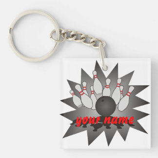 Personalized Bowling Single-Sided Square Acrylic Keychain