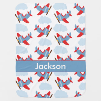 Personalized Boy Airplanes Baby Blanket