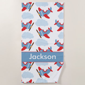 Personalized Boy Airplanes Beach Towel