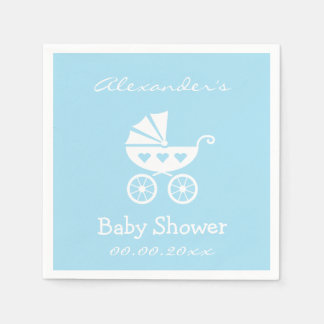 Personalized boy baby shower napkins with carriage disposable napkins