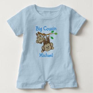 Personalized Boy Monkeys Big Cousin Baby Romper
