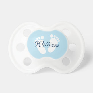 Personalized boy pacifier with baby footprints