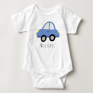 Personalized Boy's Blue Car with Name Baby Bodysuit