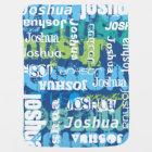 Personalized Boy's Blue Green Subway Art Baby Blanket