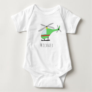 Personalized Boy's Colorful Helicopter with Name Baby Bodysuit