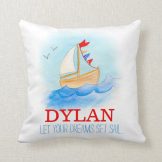Personalized boys nursery sailing boat name pillow