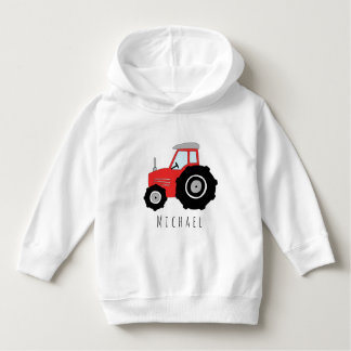 Personalized Boy's Red Farmer's Tractor with Name Hoodie