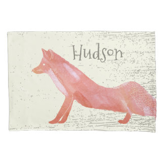 Personalized Boy's Room Fox Wood Texture Pillowcase