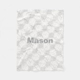 Personalized Boy's Room Modern Teepee Pattern Fleece Blanket