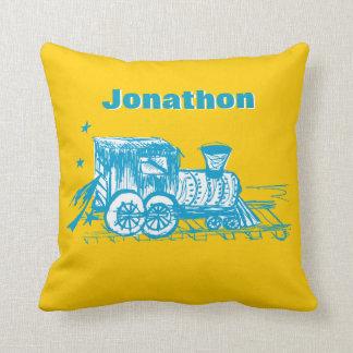 Personalized Boy's Room YELLOW Choo Choo Train Throw Pillow