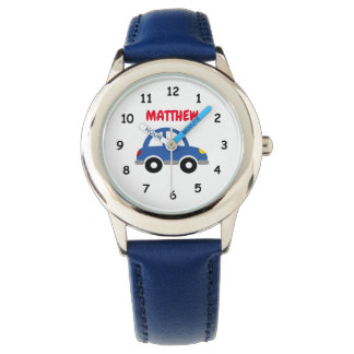 Personalized boy's watch with cute toy car logo