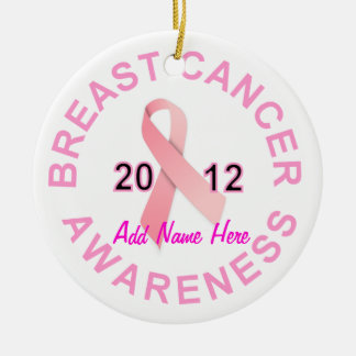 Personalized Breast Cancer Awareness Christmas Round Ceramic Ornament