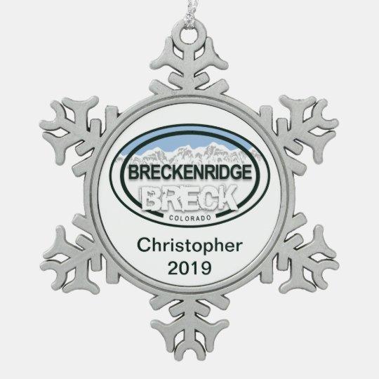 Personalized Breckenridge Colorado Rocky Mountain Pewter Snowflake Ornament