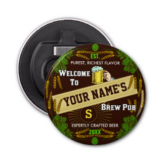 Personalized Brewpub Welcome: Hops Barley Beer Button Bottle Opener