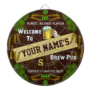 Personalized Brewpub Welcome: Hops Barley Beer Dartboard