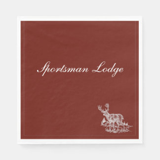 Personalized Brick Red  Buck Design Disposable Napkins