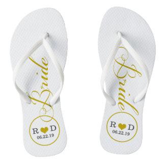 Personalized Bridal (gold) Flip Flops