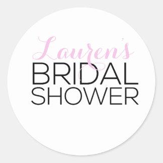 Personalized Bridal Shower Favor Round Sticker