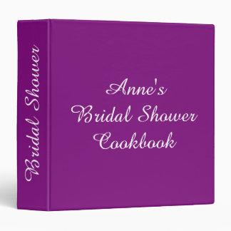 Personalized Bridal Shower Recipe Cookbook Purple 3 Ring Binder