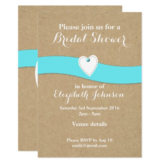 Personalized Bridal Shower turquoise kraft Card