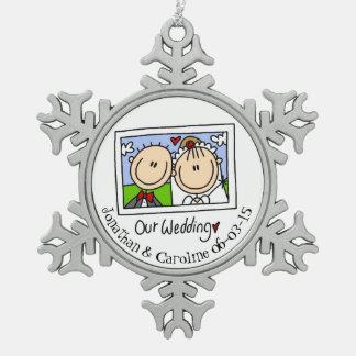 Personalized Bride Groom Photo Snowflake Ornament