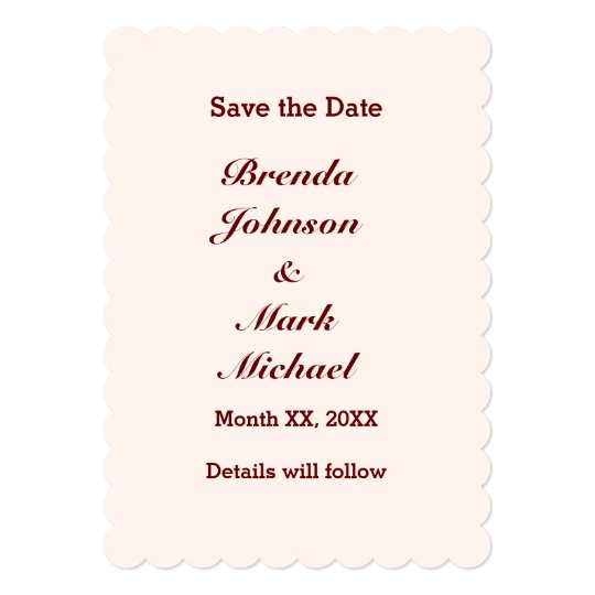Personalized Bride & Groom Save the Date Flat Card