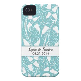 Personalized Bride & Groom Teal Vine iPhone 4 Case