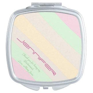 Personalized Bridesmaid Compact Mirror Pastel