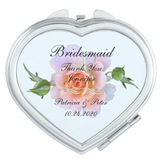 Personalized Bridesmaid Floral Makeup Mirrors
