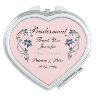 Personalized Bridesmaid Floral Travel Mirrors