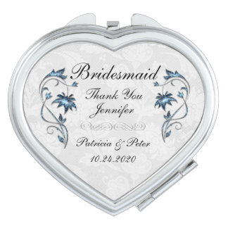 Personalized Bridesmaid Floral Vanity Mirror