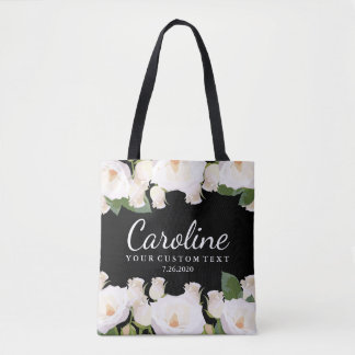 Personalized Bridesmaid Floral White Rose Wedding Tote Bag