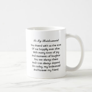 "Personalized ""Bridesmaid"" Mug with poem"
