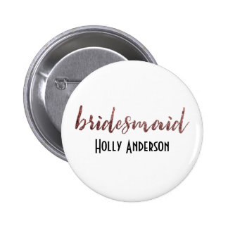 Personalized Bridesmaid Rose Gold Glitter 2 2 Inch Round Button
