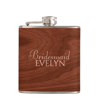 Personalized Bridesmaid | Rustic Wood Wedding Hip Flask