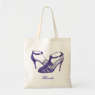 Personalized Bridesmaid Tote Bags, purple heels