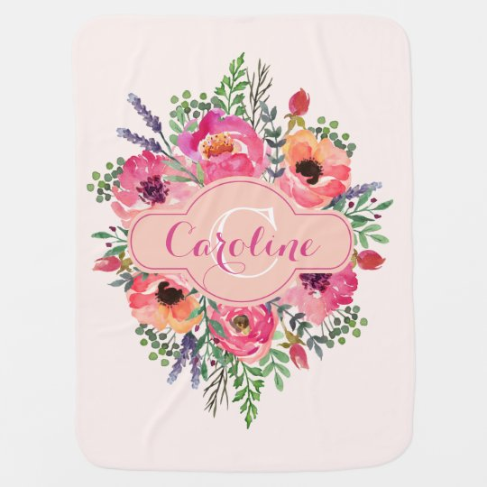Personalized Bright Blooms - Pink & peach Stroller Blankets